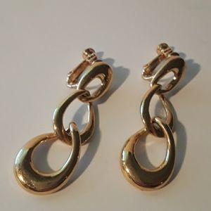 "Napier Screwback Earrings Gold Tone 2"" Dangle"